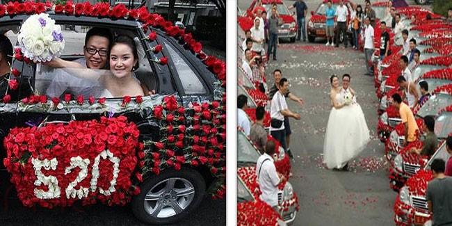 mo22.com - أكثر من 99 ألف وردة لتزيين سيارات الزفاف